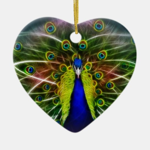 Peacock Dreamcatcher Double-Sided Heart Ceramic Christmas Ornament