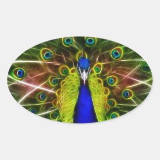 Peacock Dreamcatcher Oval Sticker
