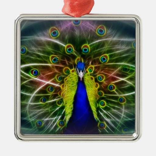 Peacock Dreamcatcher Square Metal Christmas Ornament