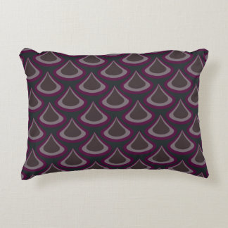 Peacock Drops Pattern Plum Accent Pillow