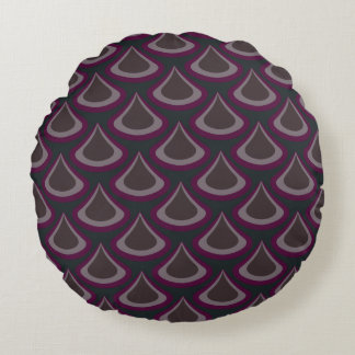 Peacock Drops Pattern Plum Round Pillow