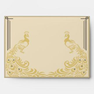 Peacock Elegance Art Deco Flair Wedding Envelope