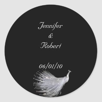 Peacock Elegance in Black, Gold, and White Classic Round Sticker