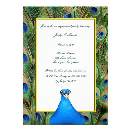 Peacock Engagement Party Invitation