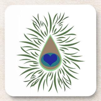 Peacock Eye Heart Shaped Coasters