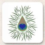 Peacock Eye Heart Shaped Drink Coaster