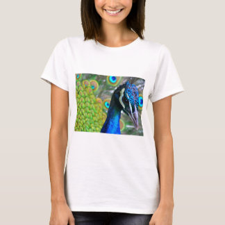 Peacock Face on Front - Tail on Back 2-sided T-Shirt