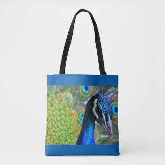 Peacock Face on Front - Tail on Back 2-sided Tote Bag