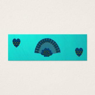 Peacock Fan with Hearts, Mini Bookmarks Mini Business Card