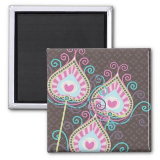 Peacock Fancy Feathers Damask Magnet