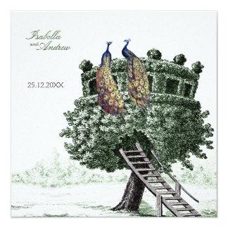 Peacock Fantasy - wedding 5.25x5.25 Square Paper Invitation Card
