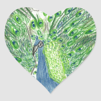 Peacock Fashion Heart Sticker