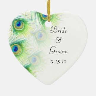 Peacock Feahters Watercolor Wedding Favor Double-Sided Heart Ceramic Christmas Ornament