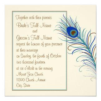 Peacock Feather 2 Invitation (square)