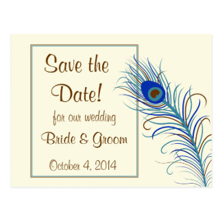 Peacock Feather 2 Save the Date Postcard