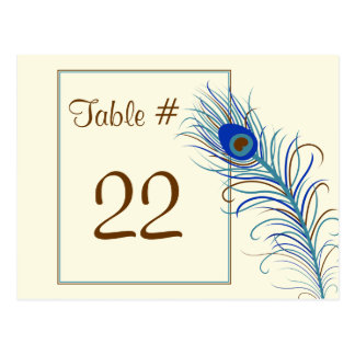 Peacock Feather 2 Table Number Card