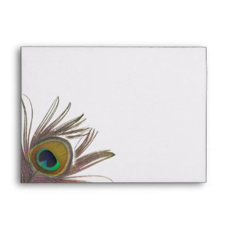Peacock Feather A7 Envelope with Return Address