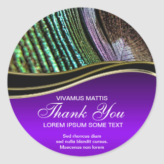 Peacock Feather Abstract Purple Thank You Sticker