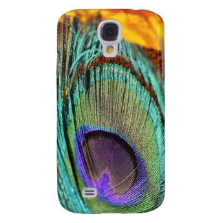 Peacock feather against flower galaxy s4 cover