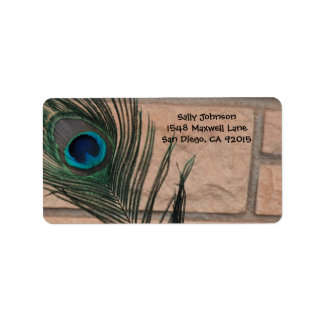 Peacock Feather and Bricks Address Labels