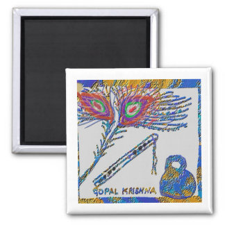 Peacock Feather and Flute - Hare Krishna 2 Inch Square Magnet