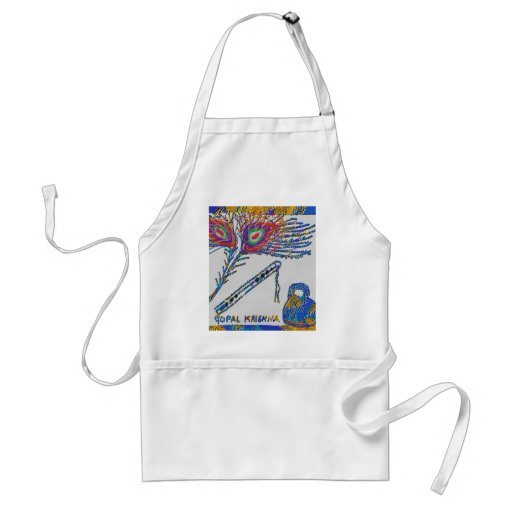 Peacock Feather and Flute - Hare Krishna Adult Apron