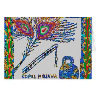 Peacock Feather and Flute - Hare Krishna Card