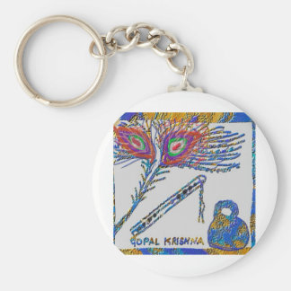Peacock Feather and Flute - Hare Krishna Key Chain