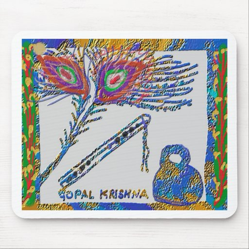 Peacock Feather and Flute - Hare Krishna Mouse Mat