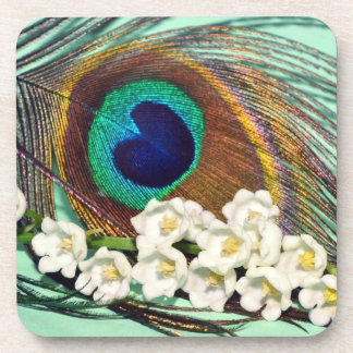 peacock feather and lily-of-the-valley beverage coaster