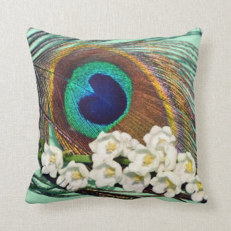 Peacock Feather and Lily-of-the-Valley Pillow