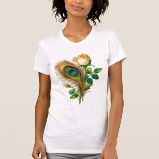Peacock Feather and Rose T Shirt