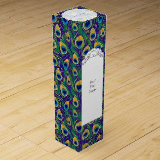 Peacock Feather Animal Print Wine Gift Box
