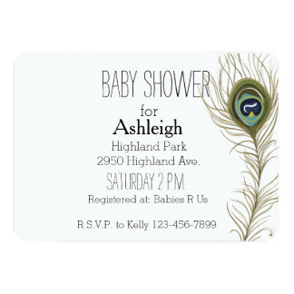 Peacock Feather baby shower Card