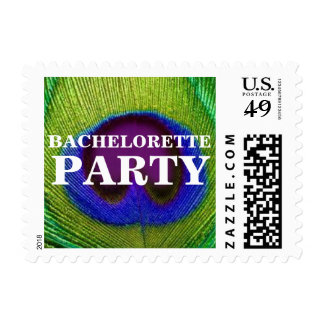 Peacock Feather Bachelorette Party Stamps