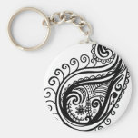 Peacock Feather Basic Round Button Keychain