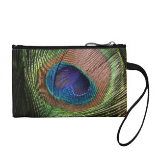Peacock feather beautiful blue key coin clutch bag change purse