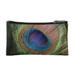 Peacock feather beautiful blue small cosmetic bag