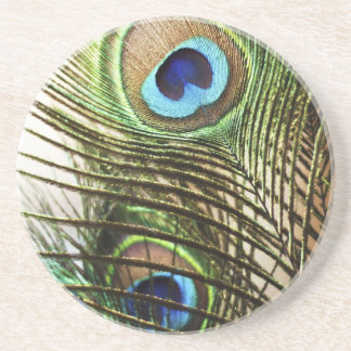 Peacock Feather Beverage Coasters