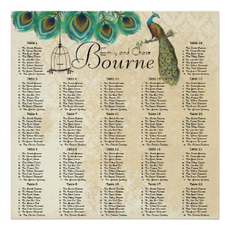 Peacock Feather Bird Cage Reception Seating Chart