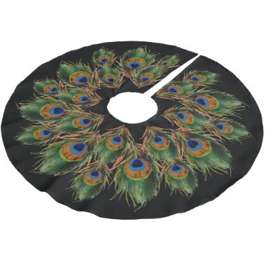Peacock Feather Black Brushed Polyester Tree Skirt