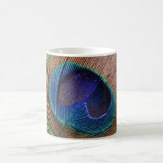 Peacock feather blue beautiful photo mug, gift 11 oz magic heat Color-Changing coffee mug