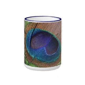 Peacock feather blue beautiful photo mug, gift ringer coffee mug