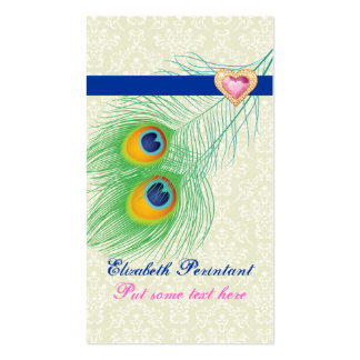 Peacock feather blue hot pink eye catching business card templates