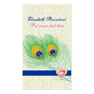 Peacock feather blue hot pink eye catching business cards