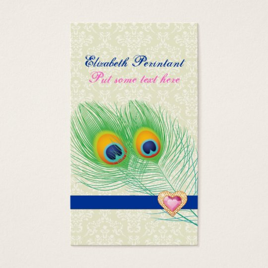 Peacock feather blue hot pink eye catching business card