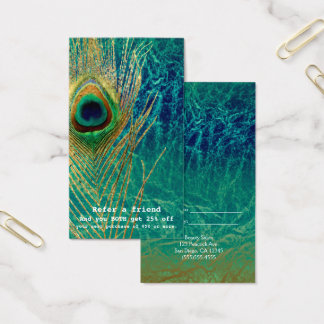 Peacock Feather Blue Teal Gold Boho Refer a Friend Business Card