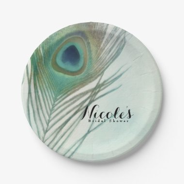 Peacock Feather Boho Chic Watercolor Custom Party Paper Plate