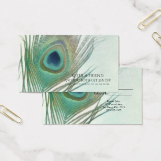 Peacock Feather Boho Watercolor Refer a Friend Business Card