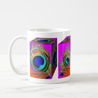 Peacock Feather Boxes Design by SHARLES Classic White Coffee Mug
